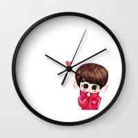 shinee Wall Clocks featuring SHINee Adidas Minho by sophillustration