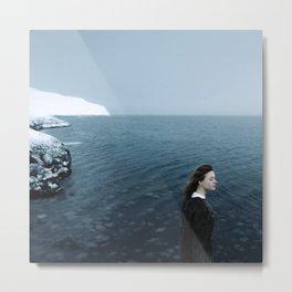 Girl ocean ice mountain Metal Print
