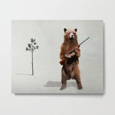 Bear with a shotgun Metal Print
