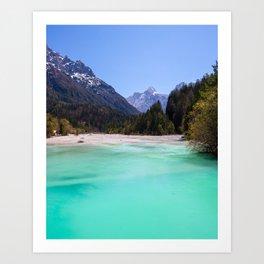 Stunning turquoise water in Kranjska Gora, Slovenia Art Print