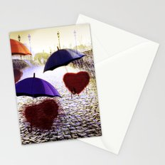Three Lonely Hearts In the Rain Stationery Cards