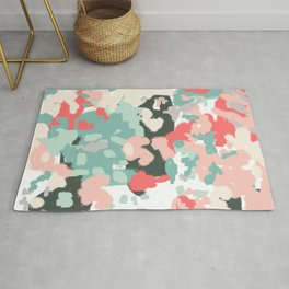 Ioro - painted abstract coral minimal mint teal bright southern charleston decor colors Rug
