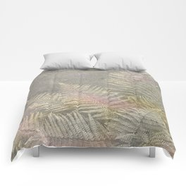 Fossil Rose Gold Fern on Brushed Stone Comforters