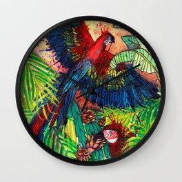 Macaw with Pitahaya  in the Jungle - Viva la Vida Wall Clock