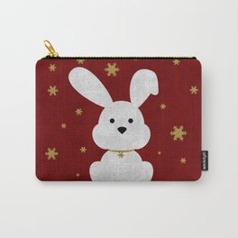 Christmas Bunny Red Marble Carry-All Pouch