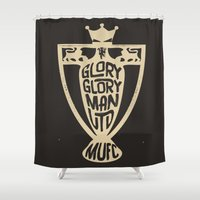 manchester Shower Curtains featuring Glory Glory Manchester united  by uniteeds