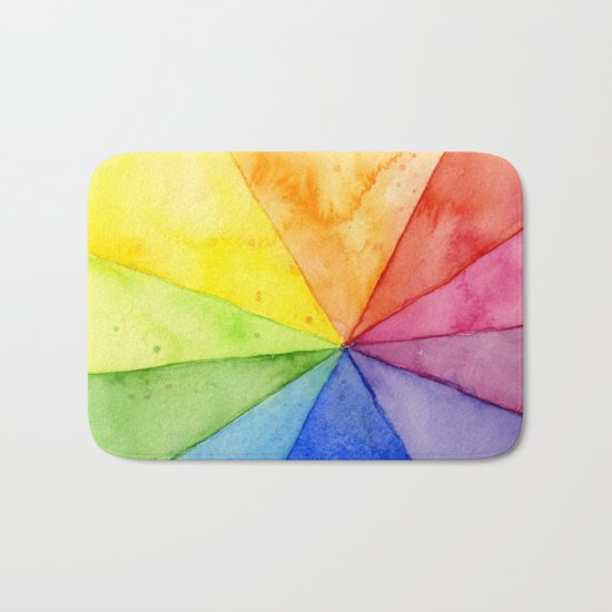 Rainbow Watercolor Geometric Pattern Bath Mat