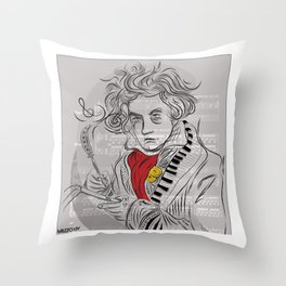 Beethoven in musica Throw Pillow