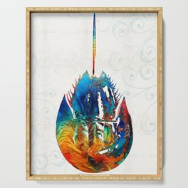 Colorful Horseshoe Crab Art by Sharon Cummings Serving Tray