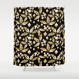 Christmas pattern.Gold sprigs on a black background. Shower Curtain