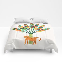 Whimsical travelers palm with tiger Comforters