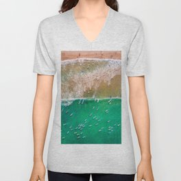 Surfers Paddling Out Unisex V-Neck