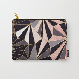 Stylish Art Deco Geometric Pattern - Black, Coral, Gold #abstract #pattern Carry-All Pouch