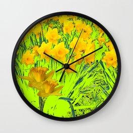 YELLOW SPRING DAFFODILS GARDEN Wall Clock