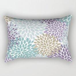 Festive Floral Prints, Purple, Teal, Gold Rectangular Pillow