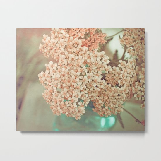 Botanical Still Life Yarrow in Apricot and Jade Metal Print