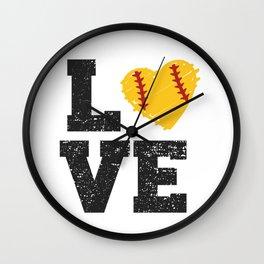 Softball Love Heart ball Wall Clock