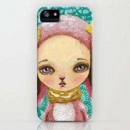 Portrait of a pink bunny iPhone Case
