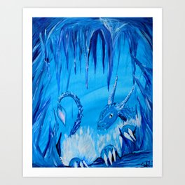 Ice Cavern Dragon Art Print