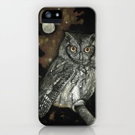 Night Vision // Owl Moon Forest Night Trees Wings Feather Screech Animal Bird Wild Wilderness iPhone Case