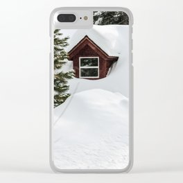 Cabin in the Snow. Clear iPhone Case