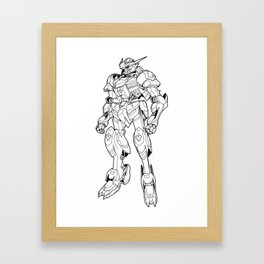 Gundam Barbatos Outline Black Framed Art Print