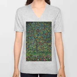 Colorful Poppies and Apple Tree in Orchard landscape by Gustav Klimt Unisex V-Neck