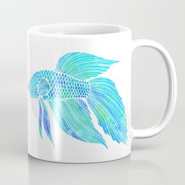 Blue Beta Fish - ocean, sea, beach, watercolor Coffee Mug