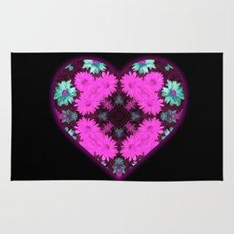 Mandala Flower Love Heart Rug