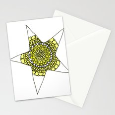 Yellow Superstar Mandala Star Stationery Cards