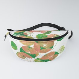 Printed Pilea Flowers in Coral and Green Fanny Pack