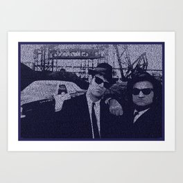 Text Portrait of Blues Brothers with full script of the movie Art Print