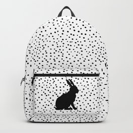Black Silhouette Sitting Bunny Rabbit Polka Dots on White Backpack
