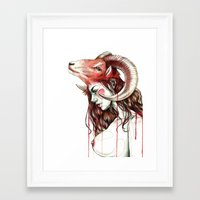 "aries Framed Art Prints featuring ""Aries"" by Mia Desu"