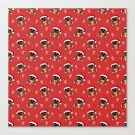 Cool Santa Bear with sunglasses and Christmas gifts pattern Canvas Print