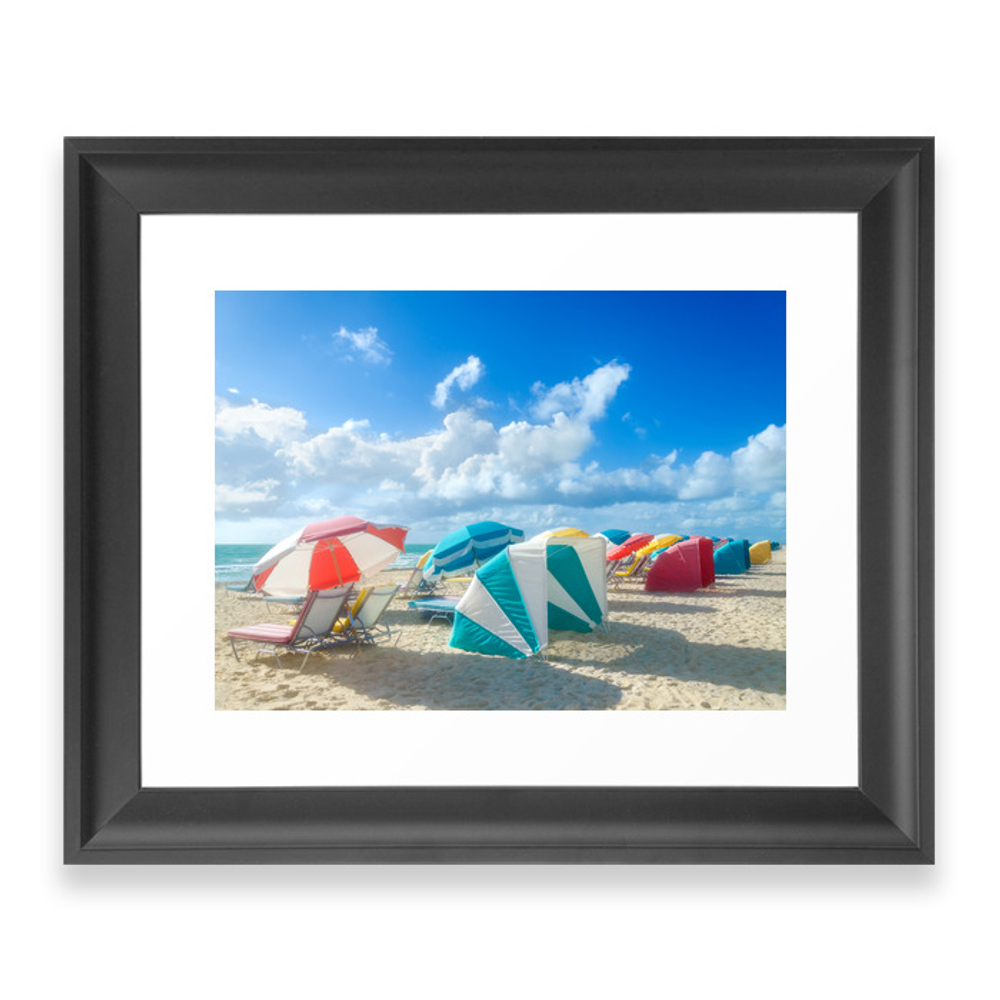 Miami Beach Cabanas And Parasols Framed Art Print by ellensmile (FRM6129624) photo
