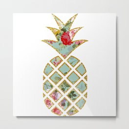 Floral Glitter Pineapple Metal Print
