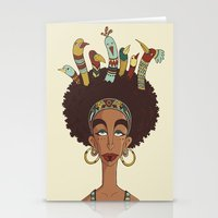 afro Stationery Cards featuring Afro Birds by Beatrice Roberti