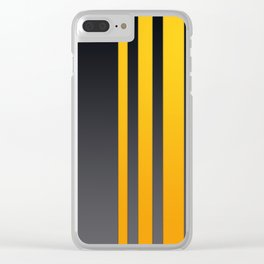 Yellow Stripes on Dark Grey Background Clear iPhone Case