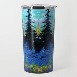 Blue Spruce Island Abstract Art Travel Mug