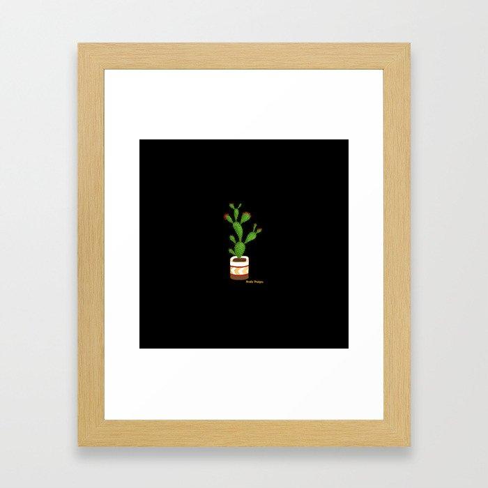 Flowering Cactus on Black Background Framed Art Print