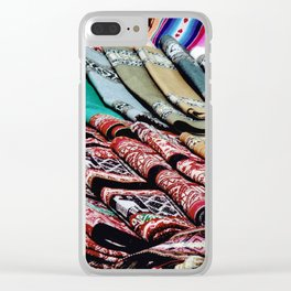 Colorful Scarves at an Outdoor Market Clear iPhone Case