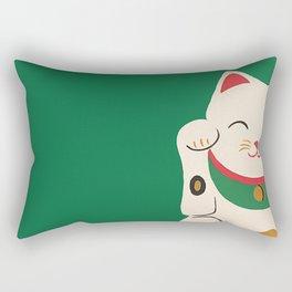 Green Lucky Cat Maneki Neko Rectangular Pillow