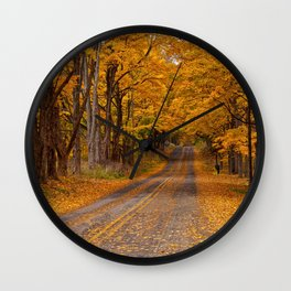 Fall Rural Country Road Wall Clock
