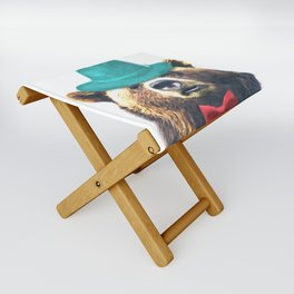 Funny Bear Illustration Folding Stool