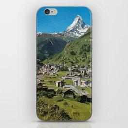 Retro Swiss travel Zermatt and Mount Matterhorn  iPhone Skin