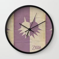 majoras mask Wall Clocks featuring Majoras Mask by cbrucc