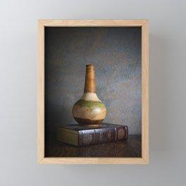 Vase and Book Framed Mini Art Print