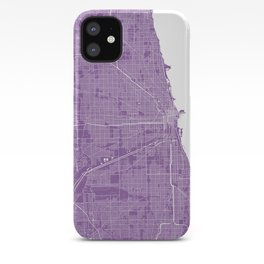 Chicago map lilac iPhone Case