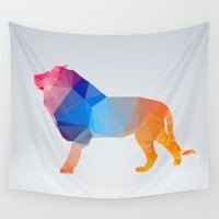 glass Wall Tapestries featuring Glass Animal Series - Lion by Three of the Possessed